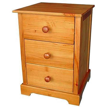 Baltic 3 Drawer Bedside Cabinet - 3 Drawer Bedside Table - Pine - Antique  Pine Finish - Baltic 3 Drawer Bedside Cabinet - 3 Drawer Bedside Table - Pine