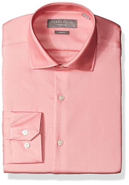 c17c8c7e Perry Ellis Men's Slim Fit Solid Non-Iron Dress Shirt, Bright Pink, 14.5