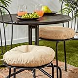 Greendale Home Fashions 15 in. Round Outdoor Bistro Chair Cushion (set of 2), Stone