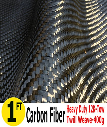 CARBON FIBER FABRIC-TWILL WEAVE-12K/400g (1 Meter Wide)