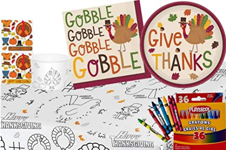 Amazon.com: TLP Online Thanksgiving Kids Table Coloring and Activity ...