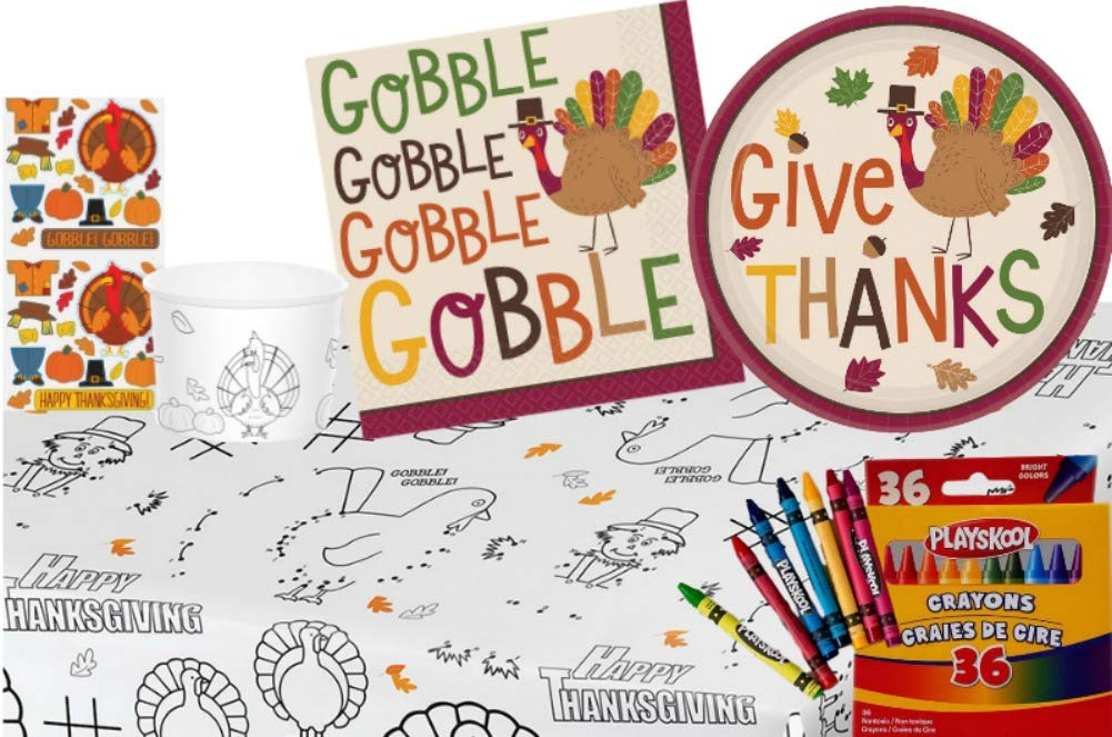 TLP Online Thanksgiving Kids Table Coloring and Activity Party Supply Pack: Bundle Includes Paper Plates, Napkins, Treat Cups with Stickers, Playskool Crayons and Paper Activity Table Cover