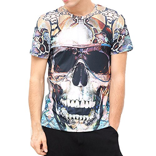 - Sherostore ♡ Tee Shirts for Mens 2018, Print 3D Skull Tops Casual Short Sleeve Round Neck Tees