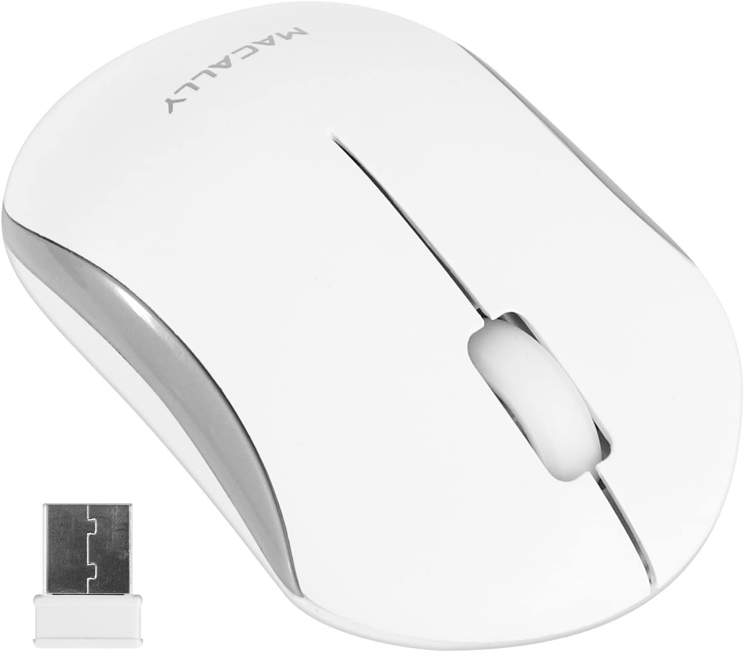 Macally RF Wireless Computer Mouse with 3 Button, Scroll Wheel, 2.4ghz Dongle Receiver, Compatible with Windows PC, Apple MacBook Pro/Air, iMac, Mac Mini, Laptops (White)