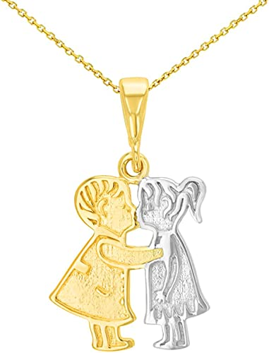 14K Solid Yellow Gold It/'s A Girl Pendant Polished Necklace Charm Child Baby
