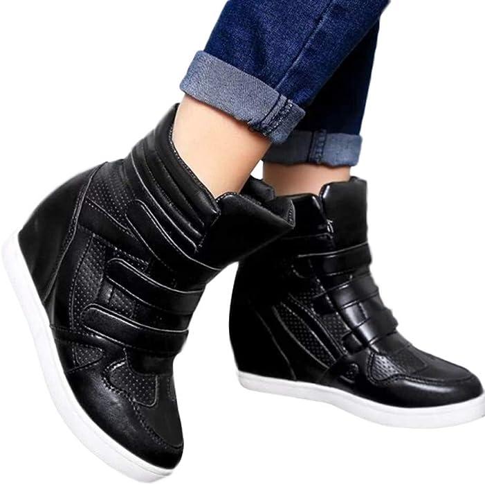 ... ❤ Zapatos Deportivos de Fondo Grueso para Mujer,Antideslizantes Casuales Zapatos Deportivos de Cuero Antideslizantes para Mujer High-Top Ocasionales ...