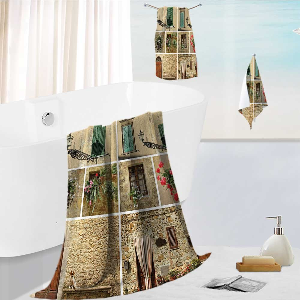 Miki Da Fast Drying Extra Large Bath Towel Set Tuscan of with Classic Shutter Window and Stones Print for Spa & Hotel Quality 19.7''x19.7''-13.8''x27.6''-31.5''x63''