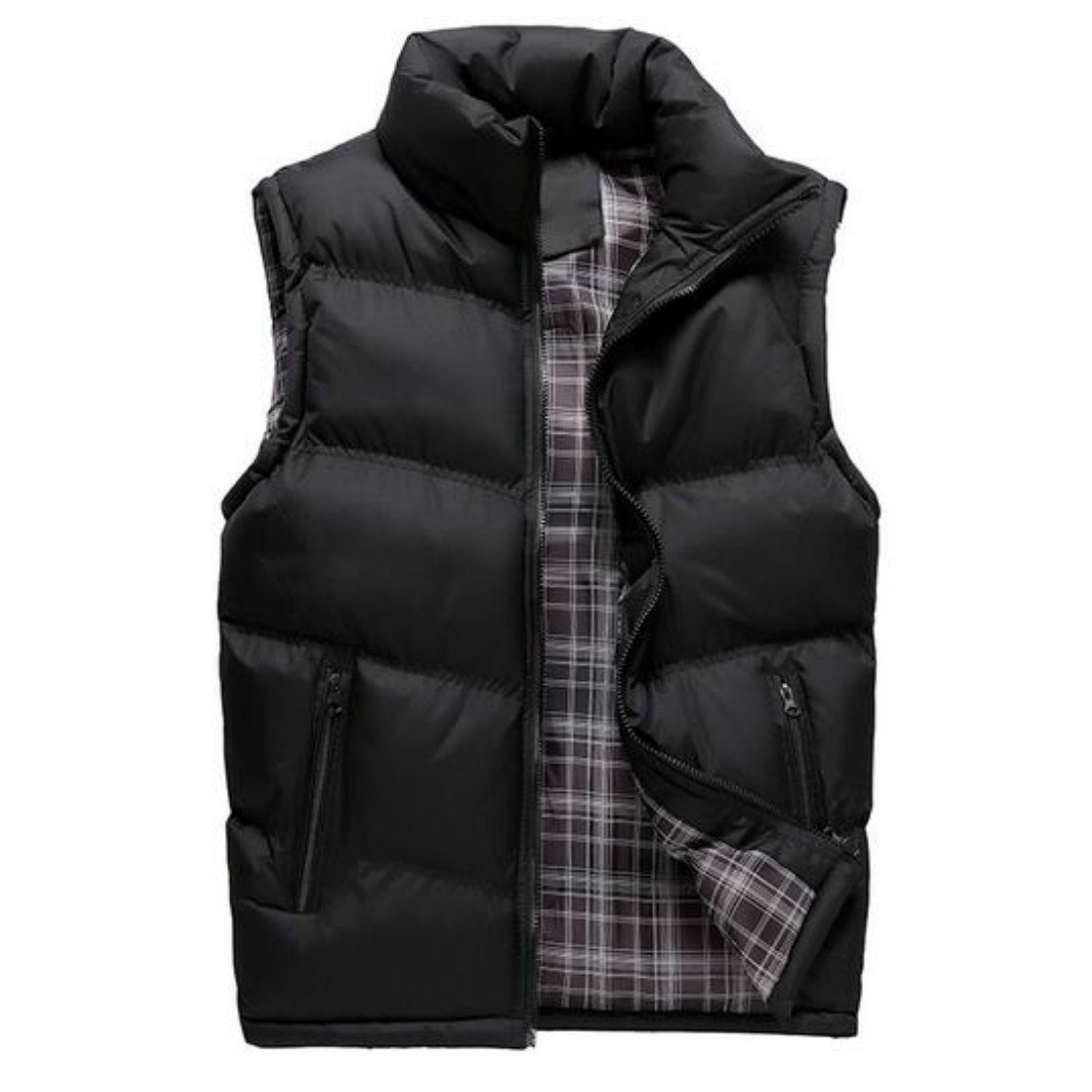 Colygamala Men's Fall and Winter Quilted Sports Down Vest Lightweight Packable Down Waistcoat 2017072501-BL-L-T2XL
