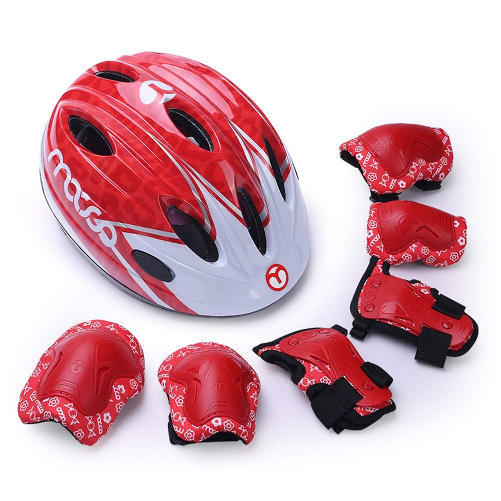 LIQICAI Kids Toddler Child Youth Sport Protective Gear Set Helmet/Elbow/Knee/Wrist Pads for Cycling Scooter Skateboard Inline Skatings (Color : Red, Size : S)