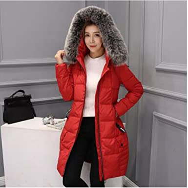 dd830101a77 BVOWEU Women Fashion Slim Warm Hooded Parkas Coat Long Fur Collar Large  Size Down Jacket
