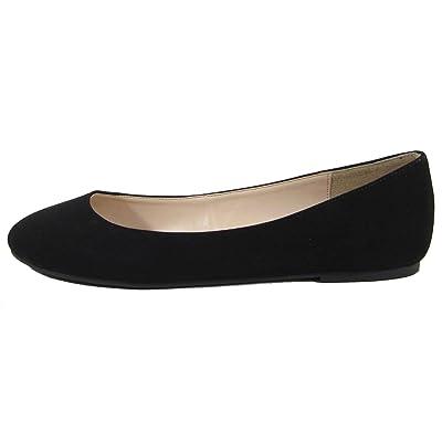 City Classified Women's Thesis Classic Round Toe Ballet Flats, Color:Black Nubuck, Size:9 | Flats