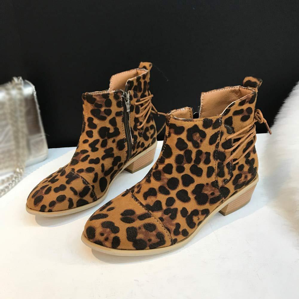67e8434ac07 Amazon.com  Joint Women Ankle Short Booties Leopard Print Suede Martin Boots  Shoes Zipper Boots  Sports   Outdoors