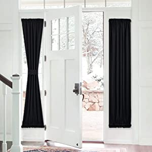 PONY DANCE Blackout Door Panel - French Curtain Solid Rod Pocket Window Treatments Patio Door Drapes for Side French Door Including Bonus Tieback, 25 x 72 inches, Black, One Panel