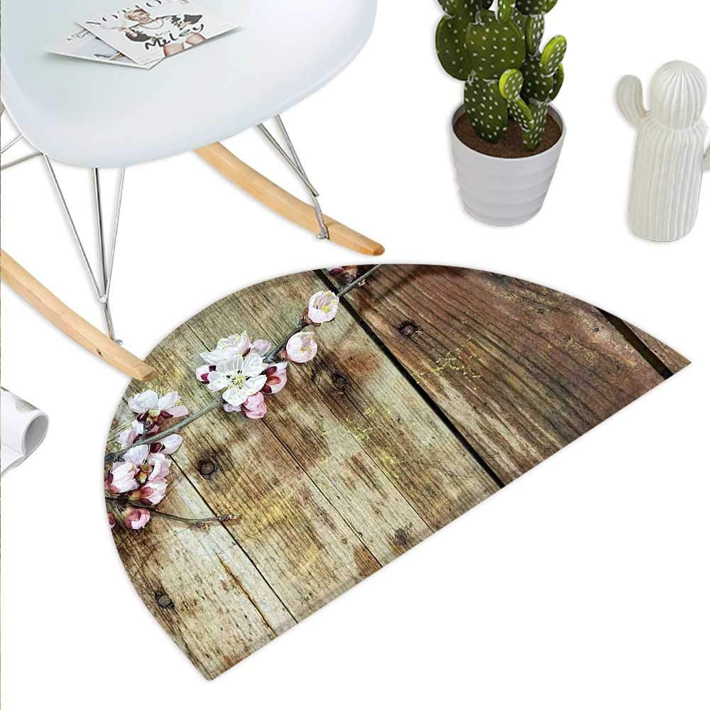 color15 H 27.5\ Rustic Semicircle Doormat Stained Walnut Branch with Soft Twiggy Swirling Flowers Leaves Cottage Life Concept Halfmoon doormats H 27.5  xD 41.3  Pink Brown