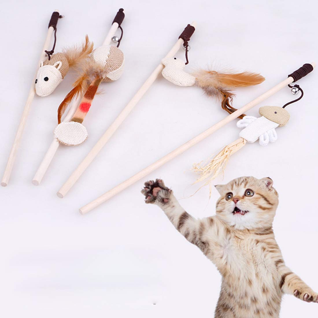 Amazon.com : Best Quality cat Toys Interactive with Bells Elastic Rod has a Funny cat Mouse Pumpkin Feather Chick Fish Mascot Toys Pets Toys : Pet Supplies
