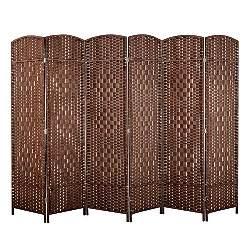 Weave Fiber Room Divider, Natural Fiber Folding Privacy Screen with Double Hinge & 6 Panel Room Screen Divider Separator for Decorating Bedding, Dining, Study and Sitting Room