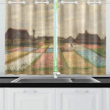 Amazon Com Movtba Flower Beds In Holland By Vincent Van Gogh Kitchen Curtains Window Curtain Tiers For Café Bath Laundry Living Room Bedroom 26 X 39 Inch 2 Pieces Home Kitchen