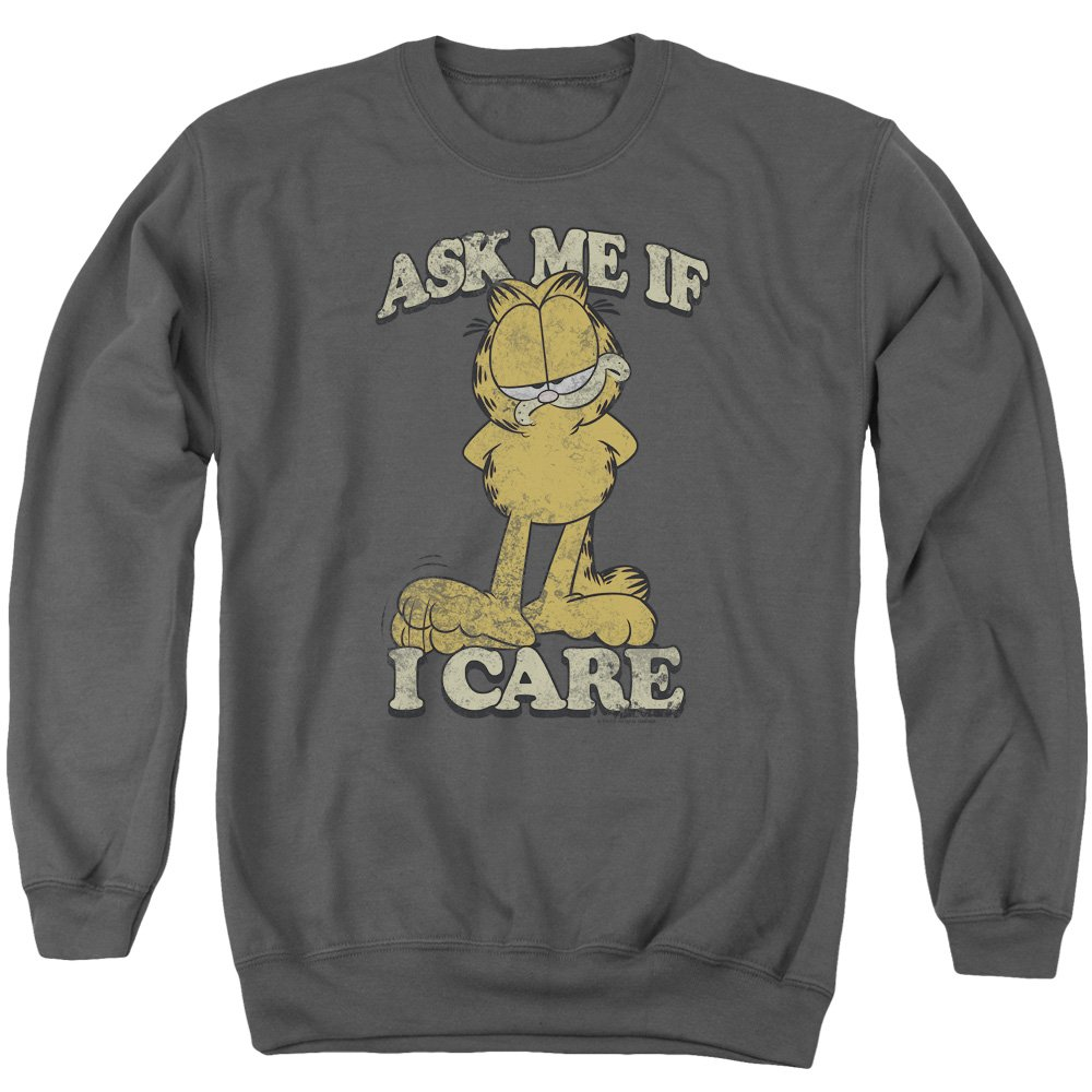 Garfield Comic Ask Me If I Care Vintage Style Adult Crewneck Sweatshirt Trevco