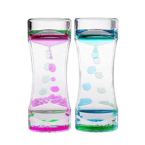 BESTONZON 2 unids reloj de arena reloj de arena temporizador de la burbuja de movimiento líquido
