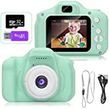 AMERTEER Kids Toy Digital Camera with [ 32 GB Memory Card and Card Reader ] Gifts for Child Boys Girls,Mini Rechargeable Children Shockproof Digital Camcorders Little Kid Toys Gift 1080P 5MP (green) …