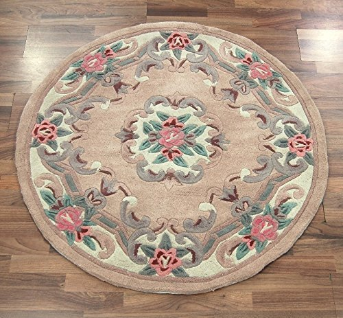 eRugs Traditional Round Original Classic Aubusson Floral 100% Wool Hand Tufted Chinese Rug, Fawn -120 x 120cm ()