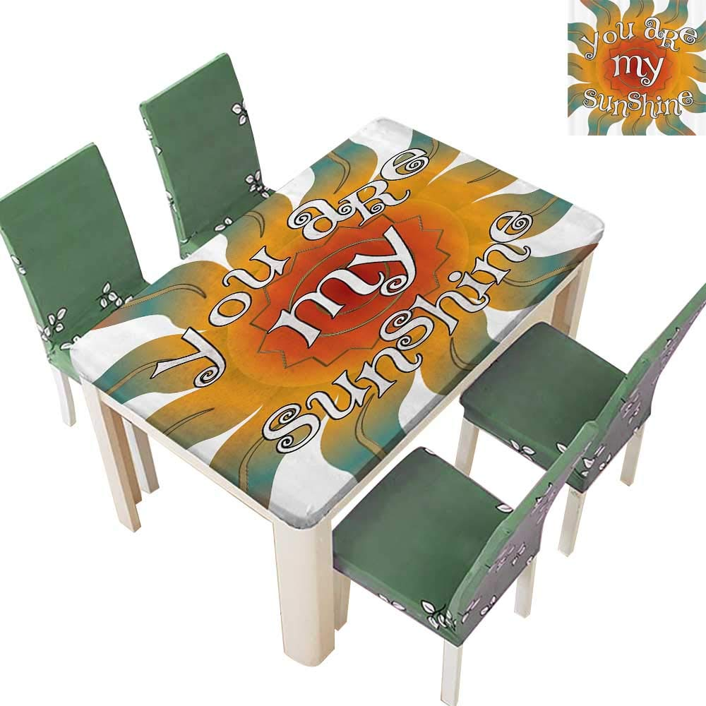 Printsonne Indoor/Outdoor Spillproof Tablecloth ratis Collecti You are My Sunshine Inspiring Quotes Sun Restaurant Party 54 x 120 Inch
