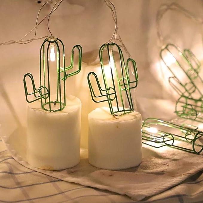 Cuento de hadas hierro forjado cactus verde estilo luces de cadena ...