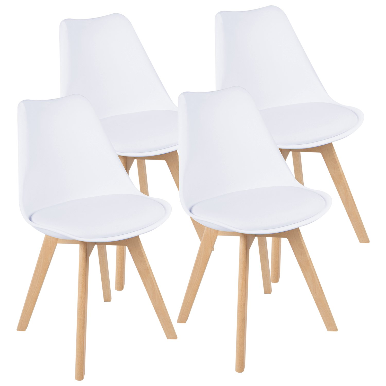 JUMMICO Mid Century Modern Style Kitchen Dining Chair Wood Assembled Legs With Soft Padded Shell Dining Side Chair Suitable For Living Room Bedroom, Armless Tulip Chair Set of 4 (Upholstered White)