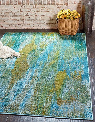 (Modern Abstract Contemporary Area Rugs Turquoise 4' 11 x 8' Mayfair Rug)