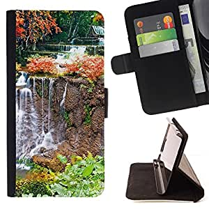 For HTC One M7 Case , Naturaleza Cascada- la tarjeta de Crédito Slots PU Funda de cuero Monedero caso cubierta de piel