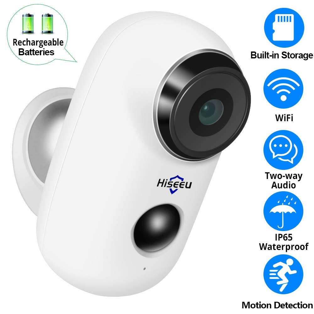 【32GB SD Preinstalled】 Battery Powered Outdoor Camera,Wireless Home Security Camera,Two-Way Audio,App Remote,IP65 Waterproof,Night Vision,Rechargeable Batteries,2.4GHz WiFi,9 Months Encrypted Records by Hiseeu