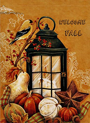 Dyrenson Home Decorative Outdoor Orioles Bird Garden Flag Double Sided, Welcome Fall Quote House Yard Flag, Autumn Harvest Pumpkin Primitive Garden Yard Decorations, Seasonal Outdoor Flag 12 x 18 ()