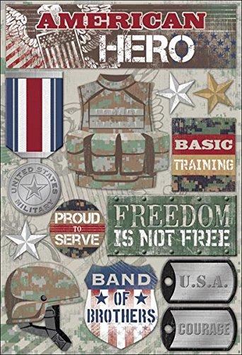 KAREN FOSTER 11556 Design Acid and Lignin Free Scrapbooking Sticker Sheet, American Hero