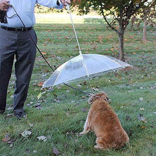 ペット傘透明ペット傘犬傘ペットドライ犬チェーンペット傘犬の綱ファッションペット犬傘耐久性のあるペットの牽引ロープ防水傘ペット傘滑り止めハンドルの透明な傘 (白)の商品画像