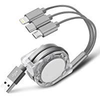 Multi USB Charger Cable Retractable 3 in 1 Multiple Charging Cord Adapter with Mini Type C Micro USB Port Connectors Compatible with Cell Phones Tablets Universal Use-Gray