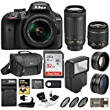 Nikon D3400 DSLR Camera 18-55mm 70-300mm Nikkor Lens + Nikon Bag + 32GB Card + Wide & Telephoto Lens + Flash + Filters + Remote Kit (Black)
