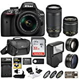 Nikon D3400 DSLR Camera w/18-55mm & 70-300mm Lens, Flash, Filters and 64GB Kit