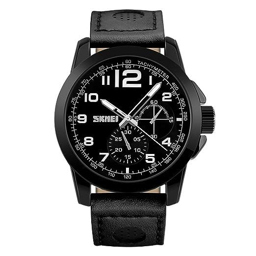 relojes negros del reloj deportivo de cuero clásicos de los hombres de gran tamaño para los hombres del reloj decorativa 3 Sub línea informal: Amazon.es: ...