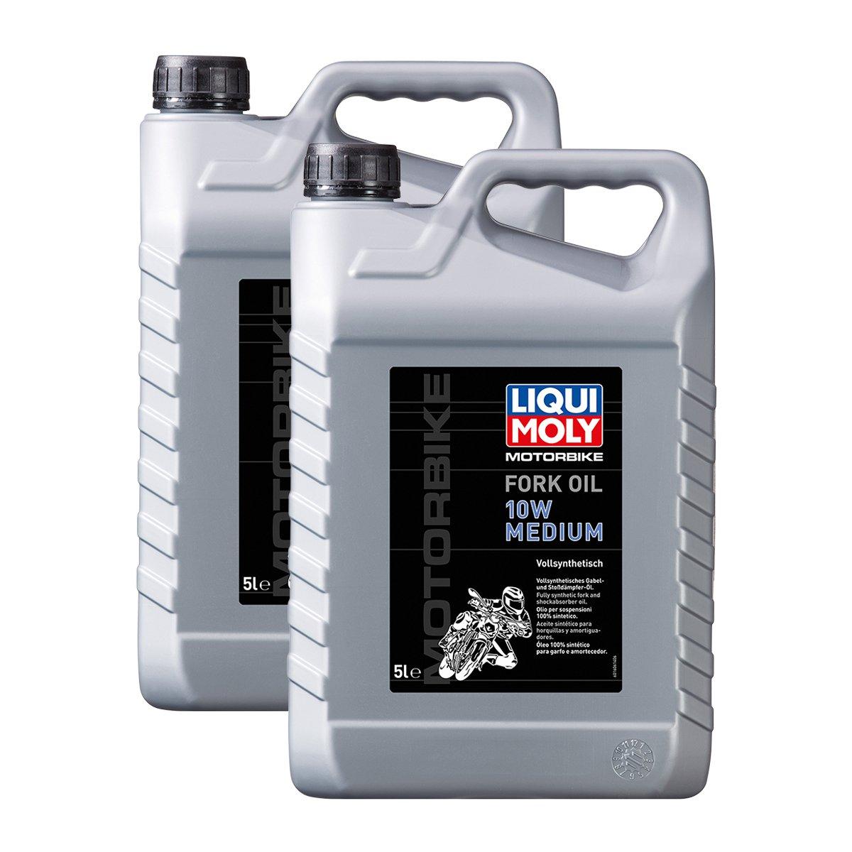 2x LIQUI MOLY 1606 Motorbike Fork Oil 10W medium Motorrad Gabelöl 5L