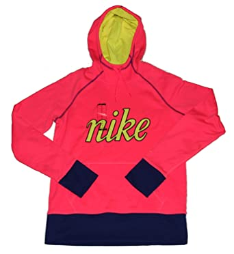 b36c500c8 Amazon.com  Nike Womens Therma Fit Script Pullover Hoodie Sweatshirt Pink  Medium  Clothing