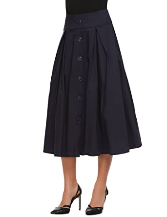 e30027db744 Zeagoo Elastic High Waist Skirt for Women New Pleated A-line Skirts with  Button and