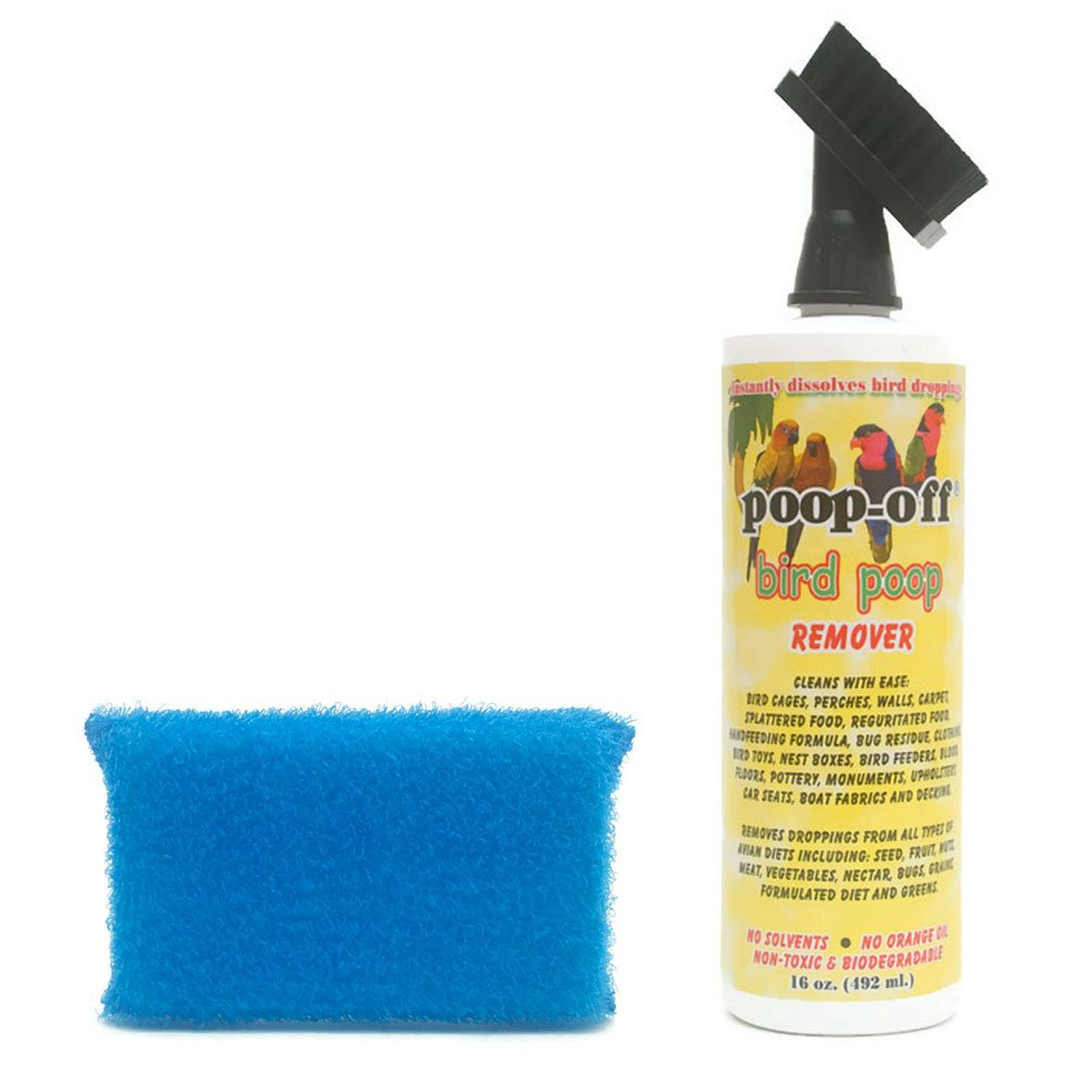 Poop-Off Bird Poop Remover Brush Top 16-Ounce with Prevue Hendryx Cage Saver Scrub Pad Assorted Colors by AP Taber Store