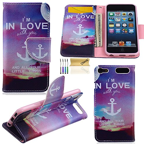 iPod Touch 5 6 Case, Dteck(TM) Fashion Colorful Painting Premium Leather Flip Stand [Card Slot/Money Holder] Wallet Case Protective Cover for Apple iPod Touch 5th 6th Generation (in Love)