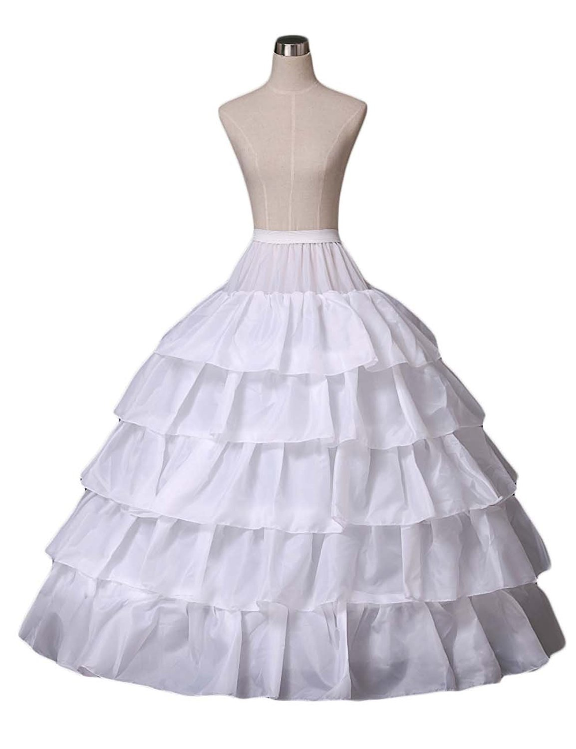 Elinadress Women 4-Hoop Wedding Petticoat Skirt Quinceanera Ball Gown White