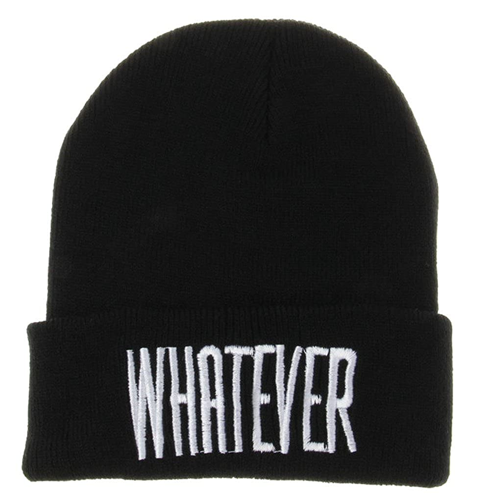 STORTO Unisex Winter Whatever Letter Print Beanie Hat Fashion Skull Cap