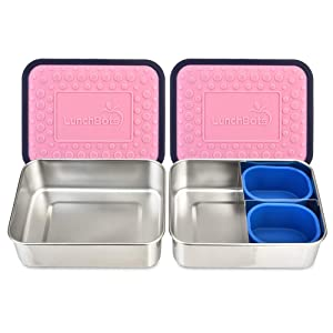 LunchBots Lite Bento Box Lunch Bundle – Includes Two Bento Boxes - One Section and Three Section Stainless Steel Containers and Silicone Cups - Eco-Friendly, Dishwasher Safe, BPA-Free - Rose