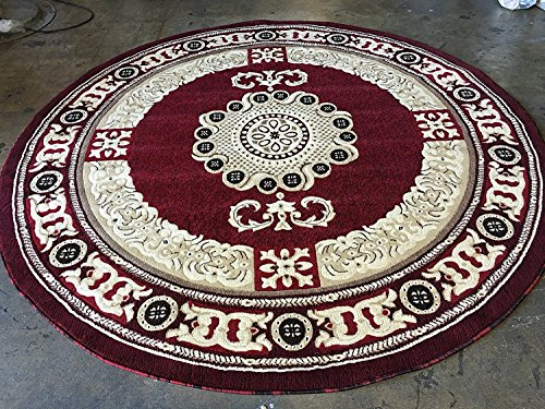 Round Brown Rug Oriental (Americana Traditional Round Persian Area Rug Red Design 121 (7 feet 3 inches X 7 feet 3 inches Round))
