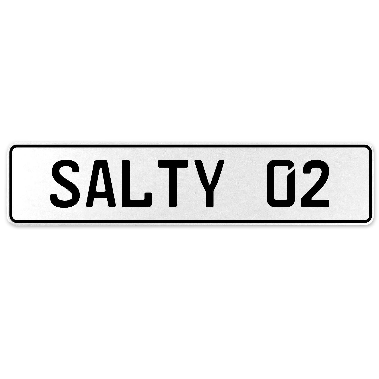Vintage Parts 556678 Salty 02 White Stamped Aluminum European License Plate