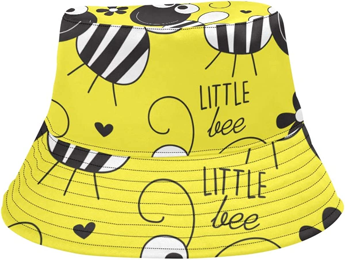 Bee Hardworking Double Wings Insect Summer Unisex Fishing Sun Top Bucket Hats for Kid Teens Women and Men with Packable Fisherman Cap for Outdoor Baseball Sport Picnic