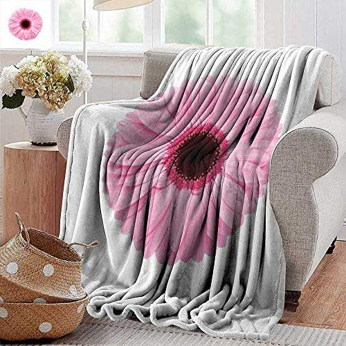 PearlRolan Blankets Fleece Blanket Throw,Pink and White,Fresh Gerber Daisy Garden Plants of Spring Growth Single Flower Image,Pale Pink White,300GSM,Super Soft and Warm,Durable Throw Blanket 30